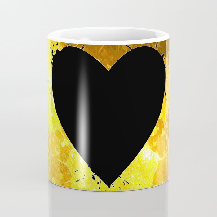 Yellow Watercolor splashed heart texture Coffee Mug
