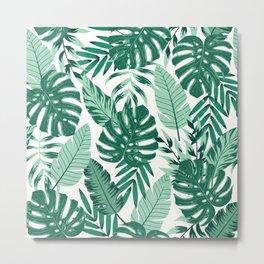 Green Monstera Leaves Metal Print