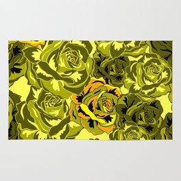 Vibrant  Green Rose floral texture Rug