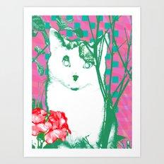 flower and cat Art Print