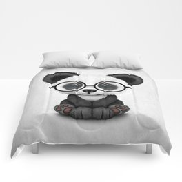 Cute Panda Bear Cub with Eye Glasses Comforters