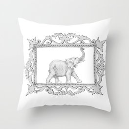 grey frame with elephant Throw Pillow