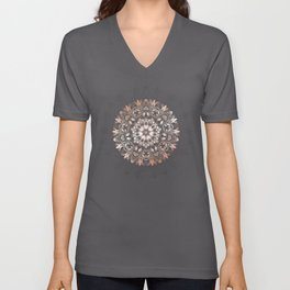 Rose Gold Gray Floral Mandala Unisex V-Neck