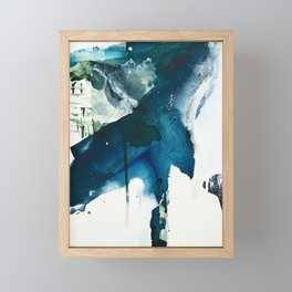 Untamed: a pretty, minimal, abstract painting in blue, white and gold by Alyssa Hamilton Art  Framed Mini Art Print