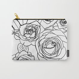 Feminine and Romantic Rose Pattern Line Work Illustration Carry-All Pouch