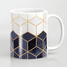 White & Navy Cubes Coffee Mug