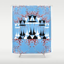 Black and White Queens in Bloom (Sky Blue) Shower Curtain