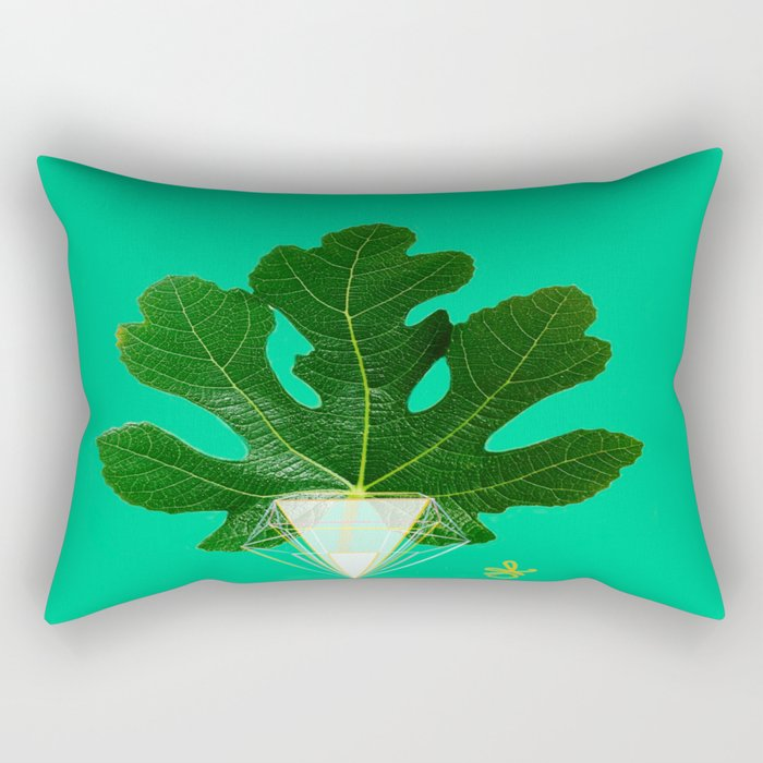 Fig Leaf Diamond Christmas Tree Rectangular Pillow