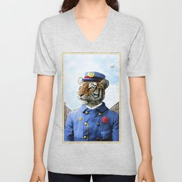 Postmaster Trenton Tigre on his Appointed Rounds Unisex V-Neck