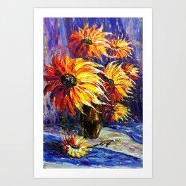 Oil painting Fire Flowers Art Print