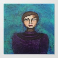 introvert Canvas Prints featuring Introvert by Leanne Schuetz Mixed Media Artist