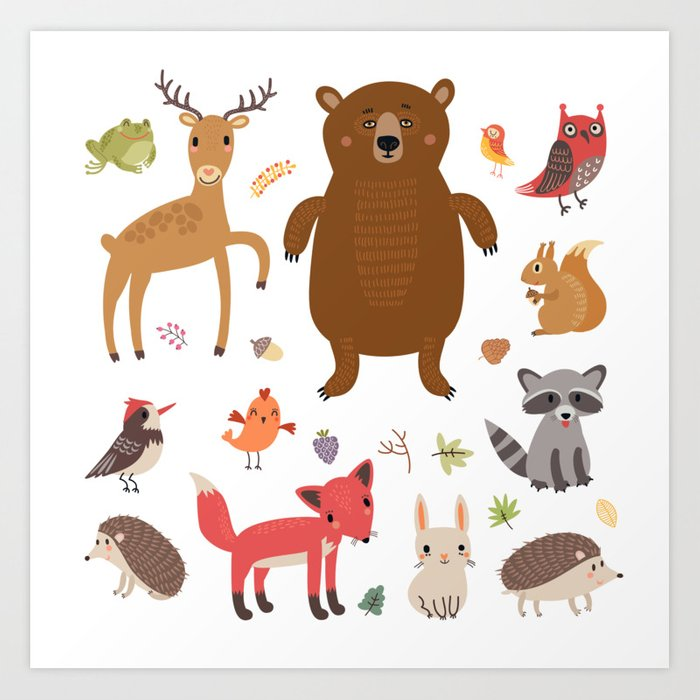 Forest Critters Art Print