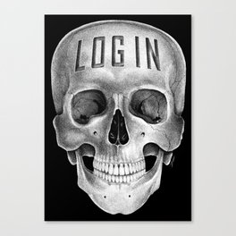 Skull Log in B&W Canvas Print
