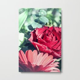 Floral composition with one Eucalyptus one Gerbera and Rose flower Metal Print