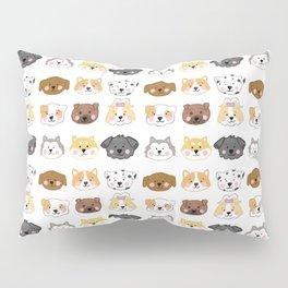 Nine Cute Dogs in White Pillow Sham