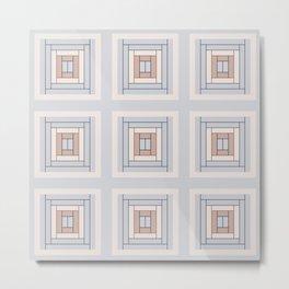 Modern Life (Large) Pattern Blue Grey Rust Metal Print
