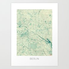 Berlin Map Blue Vintage Art Print