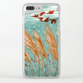 Geese Flying over Pampas Grass Clear iPhone Case