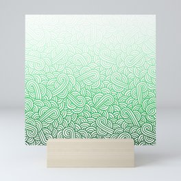 Gradient green and white swirls doodles Mini Art Print