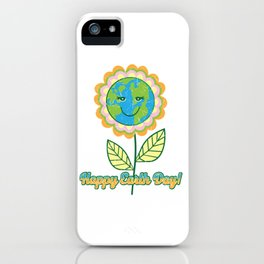 Cute Happy Earth Day Sun Flower Planet design iPhone Case