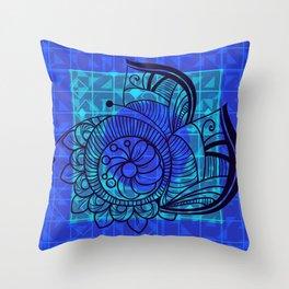 Zentangle in Blue Throw Pillow