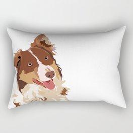 Brown Border Collie Rectangular Pillow