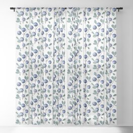 Blackthorn Blue Berries Sheer Curtain