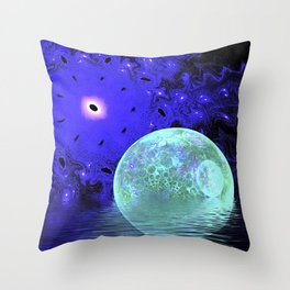 Aqua Bubble Scape Throw Pillow