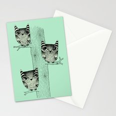Owls (green) Stationery Cards