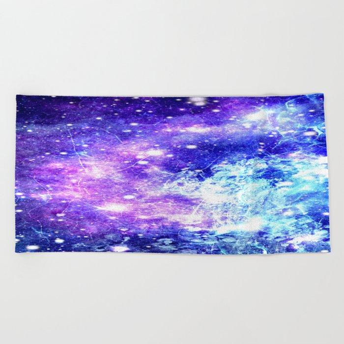 Chaotic Space : Galaxy Bright Purple & Blue Beach Towel