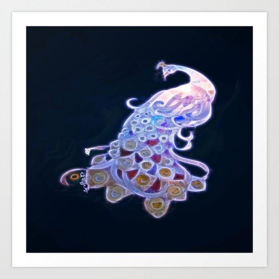 Unique White Peacock Art Print