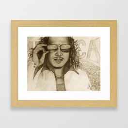 Pencil drawing of famous guitarist, Kirk Framed Art Print