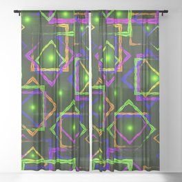 Bright diamonds and squares with highlights in the intersection on a green background. Sheer Curtain