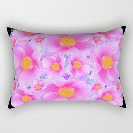 Black Art Design With Pink Roses Rectangular Pillow