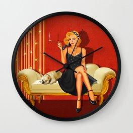 Pin Up Glamor Girl Wall Clock