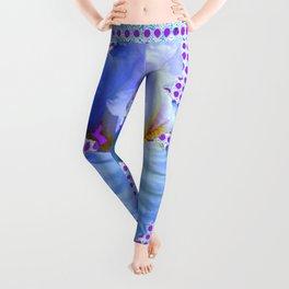 AWESOME BLUISH-WHITE PASTEL IRIS OPTICAL ART Leggings