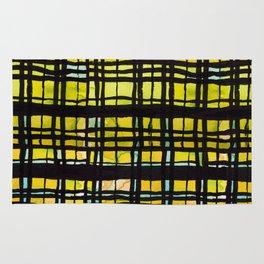 Yellow and Black Plaid Rug