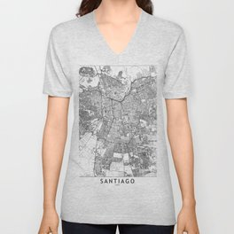 Santiago White Map Unisex V-Neck