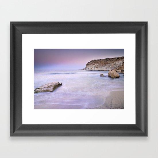 Pink sunset at the volcanic beach Framed Art Print
