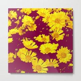 BURGUNDY-YELLOW  FLORAL COREOPSIS  PATTERN ART Metal Print