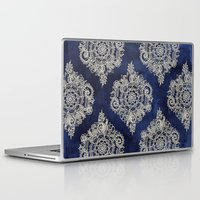 dark Laptop & iPad Skins featuring Cream Floral Moroccan Pattern on Deep Indigo Ink by micklyn