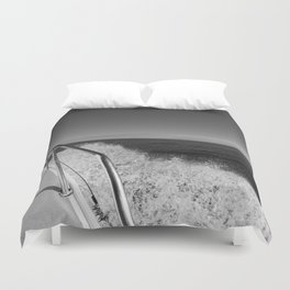 Sailing in the wind through the waves, Boat, Black and White photography #Society6 Duvet Cover