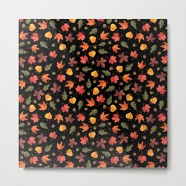 Autumn Leaves Pattern Black Background Metal Print