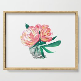 Two Pink Peony Flowers In Vase Serving Tray