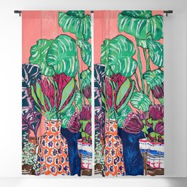 Cluster of Houseplants and Proteas on Pink Still Life Painting Blackout Curtain