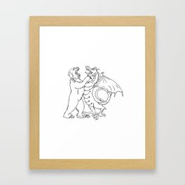 Bear Fighting Chinese Dragon Drawing Black and White Framed Art Print