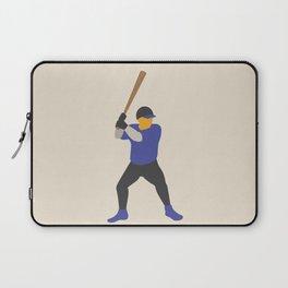 Baseball Player in Blue Batting, Flat Graphic Laptop Sleeve