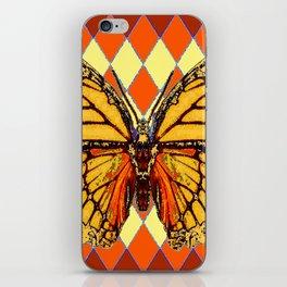 MONARCHS BUTTERFLY  &  ORANGE-BROWN HARLEQUIN PATTERN iPhone Skin