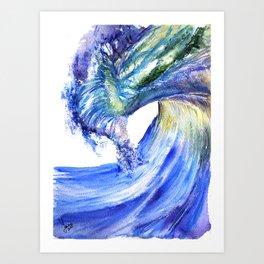 Watercolor Sunny Wave Art Print