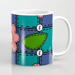 Retro Doodle Flower Style Quilt - Dark Blue and Green Coffee Mug